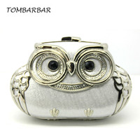army tm - TOMBARBAR Luxury Women Handbags Metal PU Women Evening Bags Mini Clutch Bag Sequined Diamonds Owl Wallets Minaudiere TM EB201605