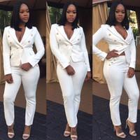 Cheap New Arrival Fashion Women Business Suit 2Piece Set Lady White Black Pant Suits