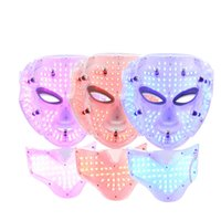infrared beauty mask - Photon LED Infrared Facial Neck Mask Skin Microcurrent Massager Rejuvenation Anti Aging Beauty Therapy Home Use Free DHL Shipping