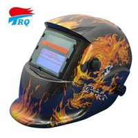 Wholesale Black Flames Skull Solar Auto Darkening Welding Helmet Welding Equipment TIG MIG MMA Electric Mask Welding Cap Tools Parts TRQ HD07 DE