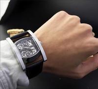 bg fashion watches - High quality modern fashion rectangular man wrist watch Automatic mechanical movement minerals wear resisting arch mirror Import cow belt BG