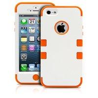 Funda para iPhone5 5S SE 5C 3in1 anti deslizamiento de la cubierta híbrido suave suave interior de piel de silicona casos de protección del teléfono para Apple iPhone SE