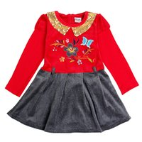 Wholesale Cosy House Baby girl s Cute Embroidery Flower Butterfiy Gold Paillette Collar With Zipper Long Sleeves Casual Kirsten Dunst