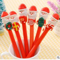 Wholesale Christmas Ballpoint Pen Polymer Clay Christmas Snowman Father Christmas Doll Ballpens Christmas Kids Gifts School Supplies Stationery