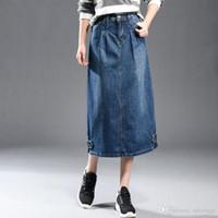 Caliente Moda Mujer Denim Falda Señora A-Line Alta Cintura Jean Midi Falda Vintage Bolsillos Señoras Jean Faldas Más Tamaño XS-6XL XA0305