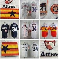 Baseball athletic orders - 2015 Houston Astros Nolan Ryan blue White grey yellow Mitchell Ness Baseball Jersey Stitched Baseball Wear Athletic Mix Orders
