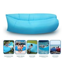 Wholesale Fast Inflatable Air Sleeping Bag Hangout Lounger Air Camping Sofa Portable Beach Nylon Fabric Sleep Bed with Pocket and Anchor HHA1117