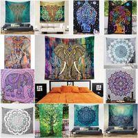venda por atacado bedspread-203 * 153 centímetros Tapeçarias Decorativas Decorativas Estilo de mandala indiana Colcha étnica Throw Art Floral Toalha Meditação de praia Tapete de jogo de ioga