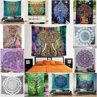 art tapestries - 203 cm Wall Decorative Hanging Tapestries Indian Mandala Style Bedspread Ethnic Throw Art Floral Towel Beach Meditation Yoga Throw Mat