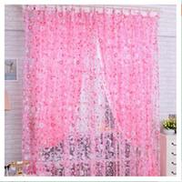 Оптово 200cm х 100 см Розовый маленький цветочный офсетной печати Sheer окно панели Шторы Room балкон Разделителя