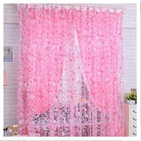Wholesale cm x cm Pink Small Floral offset printing Sheer Window Panel Curtains Room balcony Divider