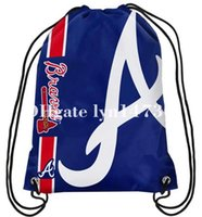 Polyester big atlanta - 35x45 knitted polyester sports fan Atlanta Braves big logo side stripe drawstring backpack bag with metal Grommets