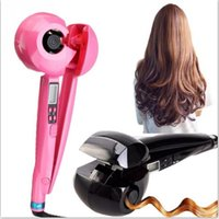 Wholesale Showliss Pro LCD Hair Curler Women Hair Care Tools Curling Irons Pink Black Ceramic Wave Hair Roller Magic Curling Iron