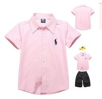 Wholesale 1piece retail boys shirts white pink pure cotton high quality emboridery short sleeve children t shirts