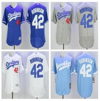 Wholesale Mens L A Los Angeles Dodgers Jackie Robinson White Blue Gray Flexbase Jersey Los Angeles Dodgers Jackie Robinson Baseball Jersey