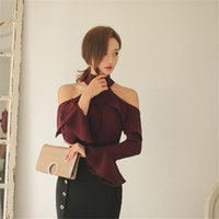 Wholesale Solid Color Off Shoulder Flare Sleeve Women s Blouse