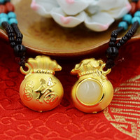 Wholesale Boutique pendant hot style Hetian white jade necklace D thick gold onside weight g K gold happy Fu bag cm cm cm couple lover