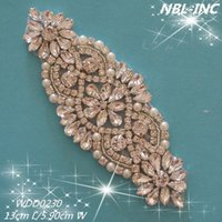 Wholesale PIECE Fashion bridal beaded sewing silver crystal rhinestone applique patch for wedding dresses