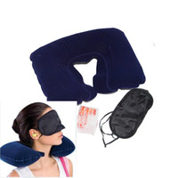 Wholesale Inflatable Travel Compact Neck U Rest Pillow AirCushion for Travel Camp w Eye Mask