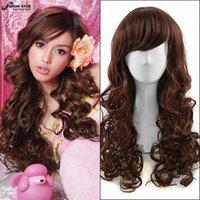60cm Brown oscuro Long Kinky Cortes de pelo rizado baratos resistentes al calor mujer peluca sintética Moda de pelo natural de las mujeres pelucas con Bangs Cosplay wome
