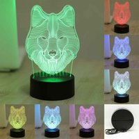 baby wolf - 7 Colorful D Visual Wolf Led Night Lights for Kids Touch USB Table Lampara Lampe Baby Sleeping Nightlight