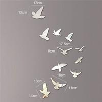 artistic wall paper - Silver Acrylic Birds Design Mirror Effect Mural Wall Sticker Decal Artistic Modern Decoration Craft