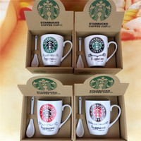 Wholesale Starbucks coffee cup set Starbucks cup Coffee mug Water bottle Cute couple office Ceramics cup With spoon