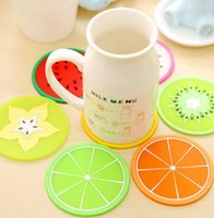 Wholesale Silicone Summer Fruit Cup Pads Pot Holder Trivet Mat Non Slip Flexible Durable Heat Resistant Pads Tableware Insulation Pad Potholders