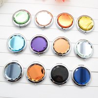 Wholesale cm folding makeup compact mirror with crystal metal pocket mirror for wedding gift cosmetic mirror
