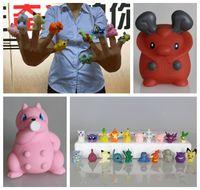 Wholesale 40 Style Poke Pikachu Figures Finger toys cm Pocket Monster Action Pikachu Charizard Eevee Bulbasaur Suicune Mini Finger Puppets KKA977