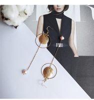 amber clip earrings - Japan and South Korea original driver for asymmetric stud earrings temperament girl contracted character long ear clip earrings eardrop no h