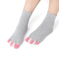 ankle socks with heels - with heel women toe socks ankle high assorted solid color lady five Toe Socks fingers socks one pair feet care LY
