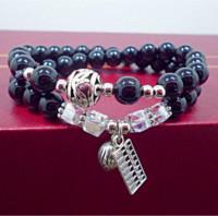 Gatos de perlas España-Natural ágata negro perlas pulseras mujeres hombres joyas pulsera plata antigua gatos afortunados pendiente pulsera joyería 0215