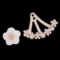 Wholesale Hot Lady Daisy Stud Earrings Silver Gold Rose Gold Flower Earrings Rhinestone Lady Stud Earrings FE130