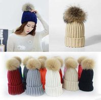 Wholesale winter beanie for women girl s knitted cotton caps mink and fox ball cap fur pompoms tight female cap