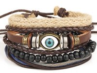 Wholesale 2017 Handmade Vintage eyes bracelet charm leather bracelet in stock