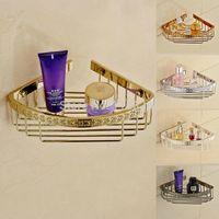 antique shelf brackets - antique brass bathroom accessory kitchen and bathroom shelf dual tier with hook shower bracket basket7617
