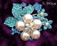 asian wedding pictures - Women silver zinc alloy rhinestone flowers pearl brooch pin jewelry picture color