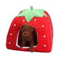 Wholesale Pet Cat House Foldable Soft Winter Leopard Dog Bed Strawberry Cave Dog House Cute Kennel Nest Dog Fleece Cat Bed