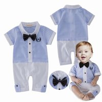 Wholesale 2017 Summer baby boys stripe bow tie gentry Romper Jumpsuit Rompers For Babies Onesies Boy Newborn Clothes One Piece Clothing Lovekiss A66
