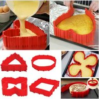 Wholesale Cake Bake Snake set Cooking Moulds Cake Mold DIY Silicone Cake Baking Square Round Shape Mold Magic Bakeware Tools CCA5925