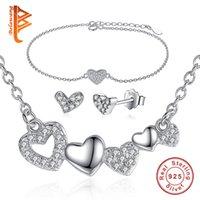 Mode Haute Qualité Cristal 925 Sterling Silver Wedding Jewelry Set BraceletEarringNecklace AAA Zircon Pour bijoux de mariée set