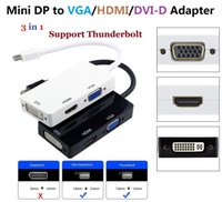 dp male vga female achat en gros de-Thunderbolt Mini Display Port DP Male Vers HDMI DVI VGA Female 3 In 1 Adapter Converter Cable Pour Apple MacBook Air Pro