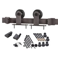 Wholesale Modern Double Sliding Barn Door Hardware Heavy duty wooden barn door hardware BLACK