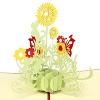 Wholesale Newest Beautiful Greeting Cards Whosale For Any Festival Gift Sunflower Birthday Mother Day Gift Card Thank You Christmas KT0124