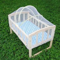 Wholesale Retail Baby Crib Multiuse Wooden Infant Bed Wheeled Rocking Cradle Newborn Baby Bed with Mosquito Net VT0413