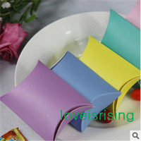 Wholesale 50pcs Pink Lavender Yellow Sky Blue robin egg blue Colorful Paperboard Pillow Shape Candy Box for Wedding Christmas Decor Sweets Gift Pouch