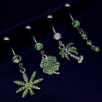 Wholesale Belly Button Rings Pot Leaf Dangle Body Piercing G Belly Button Ring mm PC Belly Rings for Women Body Piercing Jewelry