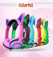 Wholesale Foldable Flashing Glowing Cute Cat Ear Headphones Gaming Headset Earphone with LED light For PC Laptop Computer Mobile Phone with retail pac