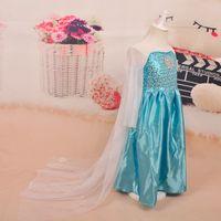 Vente en gros nouvelle Frozen princesse bleu Elsa robes avec des filles en dentelle blanche Pageant costume robe de mode enfants fille robe cadeau de Noël 1701001